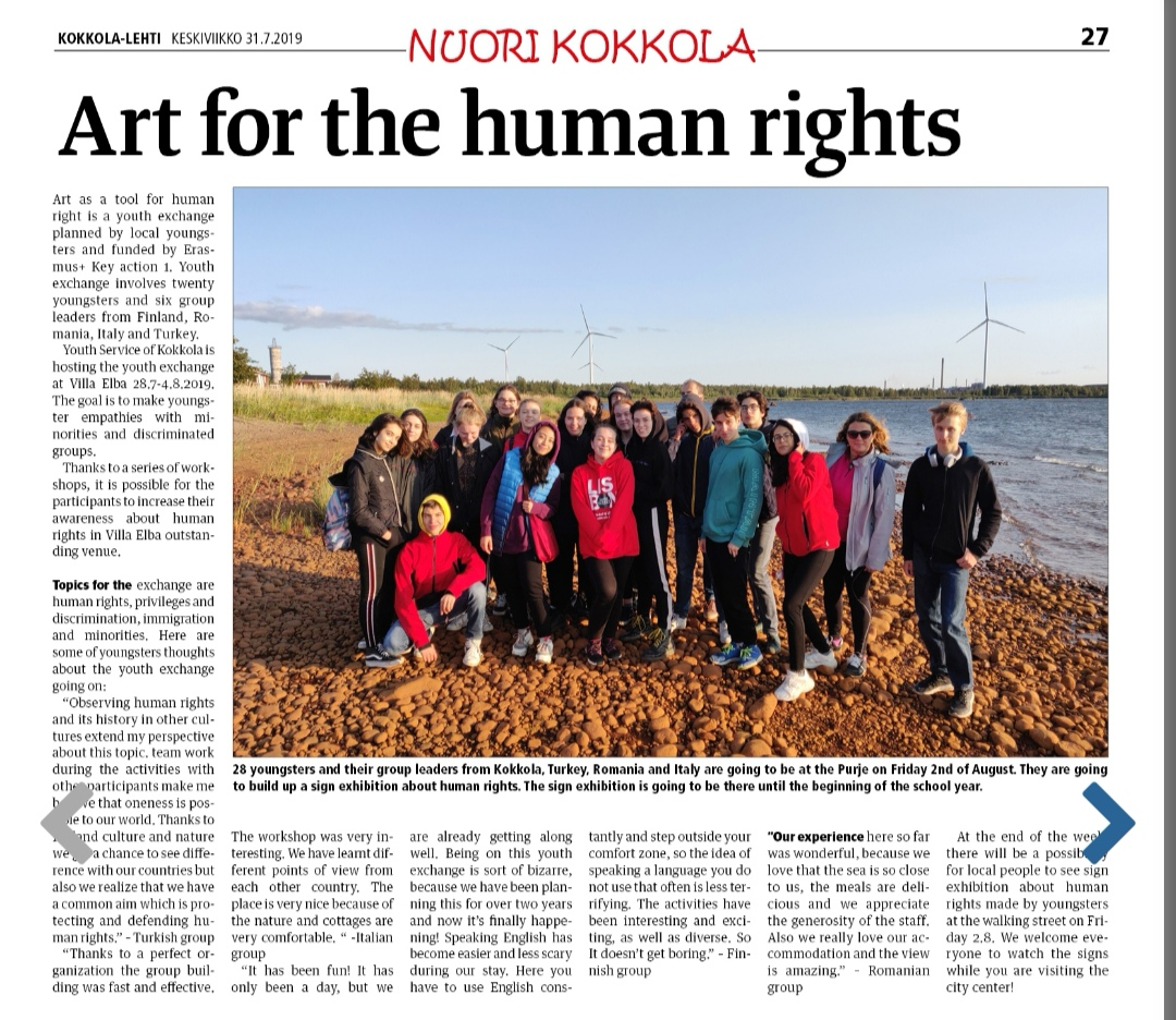 "Youth Exchange in Finland - ""Art as a tool for Human Rights"""